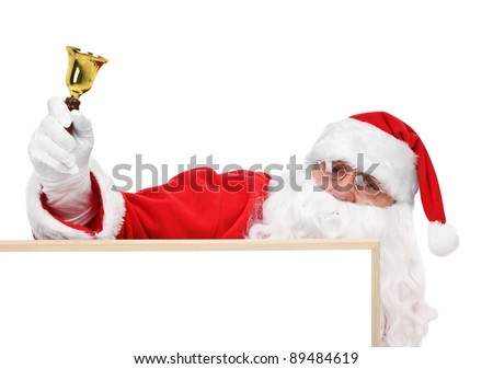 Santa claus and part of hollow bulletin board - stock photo