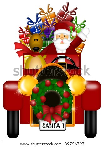 Santa Claus and Reindeer in Winter Snow Scene Driving in Vintage Red Car Isolated on White Background Illustration - stock photo