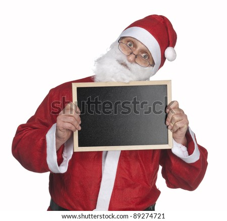 Santa claus and small blackboard on white background - stock photo