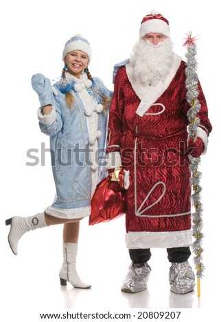 Santa Claus and snow girl looking at the camera, isolated on white - stock photo
