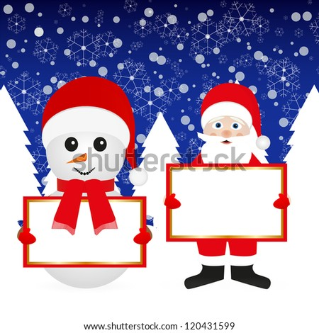 Santa Claus and snowman in the woods with banners - stock photo