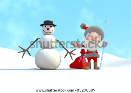 Santa Claus and snowman smile greet you. 3D Render - stock photo