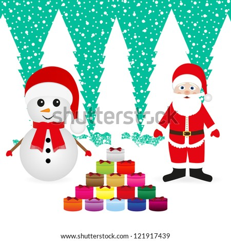 Santa Claus and snowman with Christmas presents - stock photo