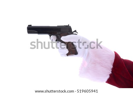 Santa Claus arm wearing white gloves points a Hand Gun. 45 caliber semi automatic pistol.  Second Amendment Rights.  Isolated on white with room for your text.