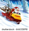 Santa Claus astride a snowmobile with gifts and deers. - stock photo