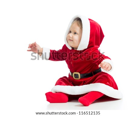 Santa Claus baby girl isolated on white background - stock photo