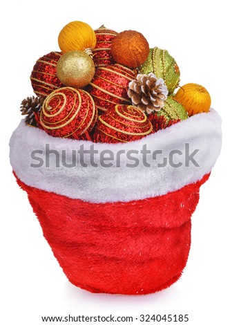 Santa claus bag wit christmas toys and pine cones isolated over white background - stock photo