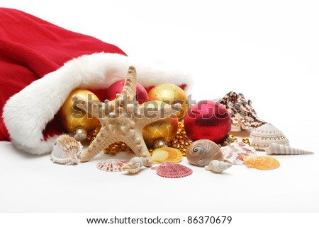 Santa Claus bag with balls and seashells,Isolated on white. - stock photo