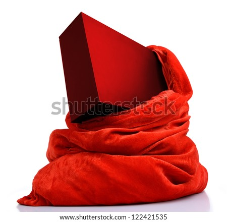 Santa Claus bag with red box with a gift on white background. File contains a path to isolation.