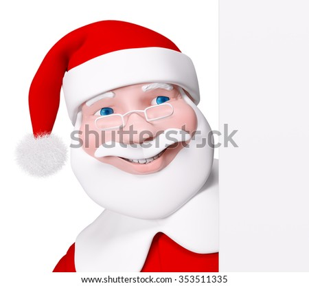 Santa Claus behind a poster isolated over white 3d rendering - stock photo
