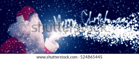 Santa Claus blowing snowflakes, Merry Christmas text