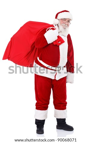 Santa Claus bringing presents in big red bag, isolated on white background - stock photo