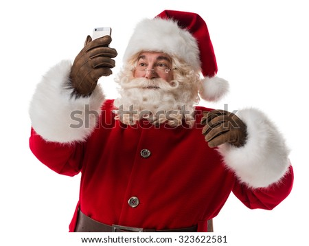 Santa Claus calling phone Portrait Isolated on White Background - stock photo