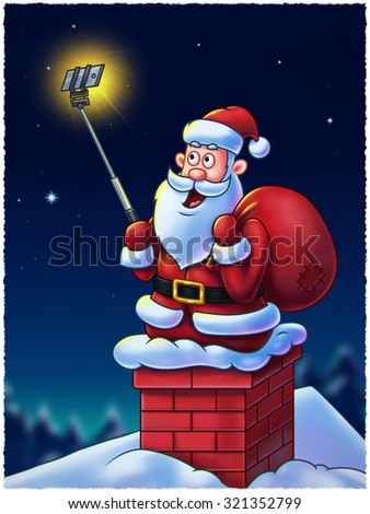 Santa Claus cartoon character on chimney making selfies for his fans using a selfie stick - Digital Painting. Great illustration for Christmas projects, greeting cards, etc. Isolated on white. - stock photo