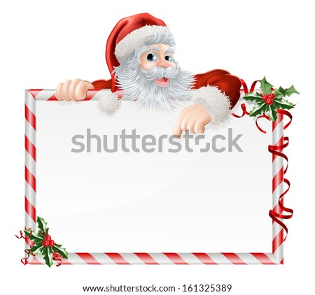 Santa Claus Cartoon Sign with Santa peeking over a sign that is decorated with Christmas Holly - stock photo