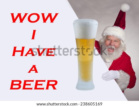 Santa Claus - Christmas figure of Santa Claus with big glass of beer texture, background - stock photo