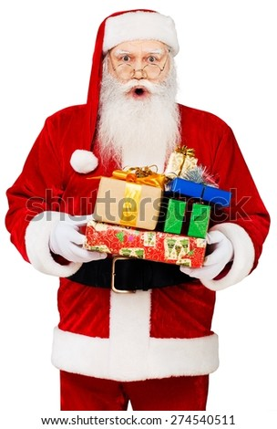Santa Claus, Christmas, Finger on Lips. - stock photo