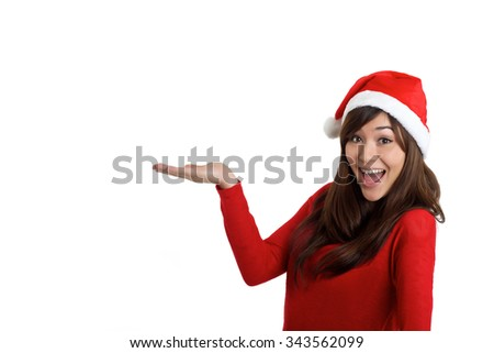 Santa Claus Christmas Woman holding product on white background