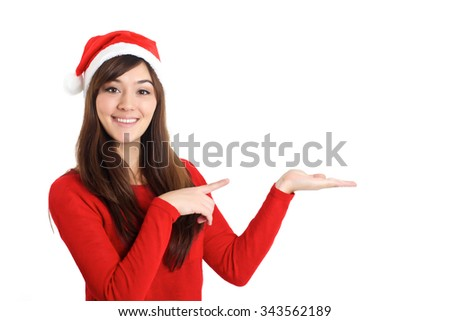 Santa Claus Christmas Woman pointing product on white background