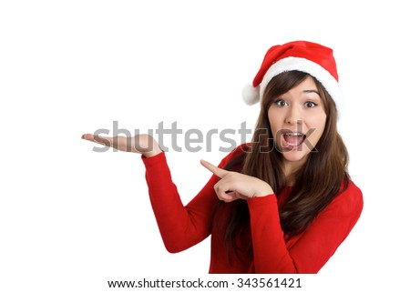Santa Claus Christmas Woman surprised pointing product on white background - stock photo