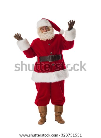 Santa Claus confused Portrait Isolated on White Background
