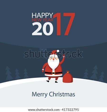 Santa Claus congratulates Happy New Year, illustration - stock photo
