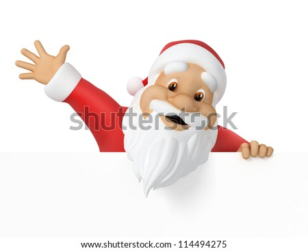 Santa Claus, 3d illustration,  work path included - stock photo