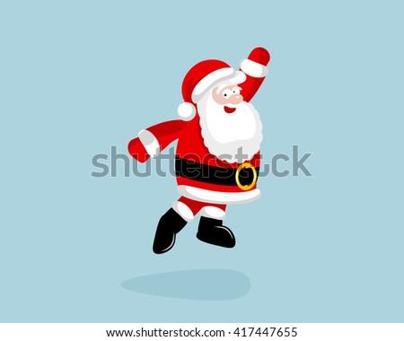 Santa Claus dancing and jumping.  - stock photo