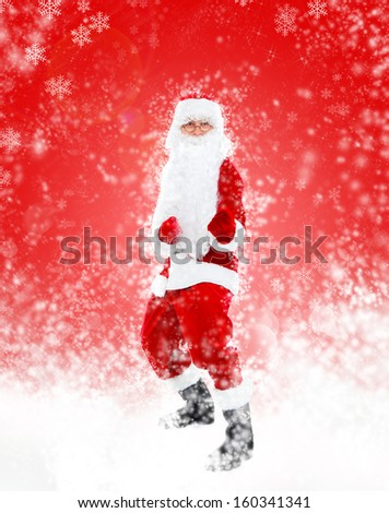 Santa Claus dancing full length over red christmas background abstract winter snow, concept of happy dance new year - stock photo