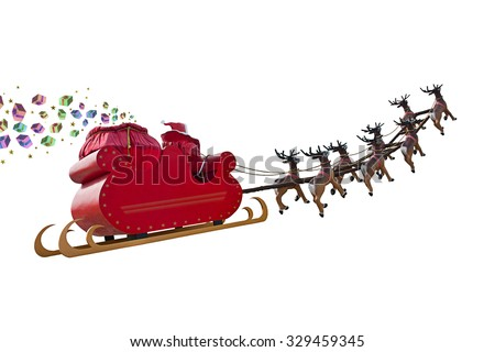 Santa Claus delivering gifts around the world by riding a sleigh led by reindeers isolated on white backgound - stock photo
