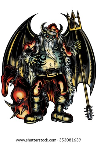 Santa Claus Demon. Illustration evil Santa Claus with demon wings and a pitchfork.  - stock photo