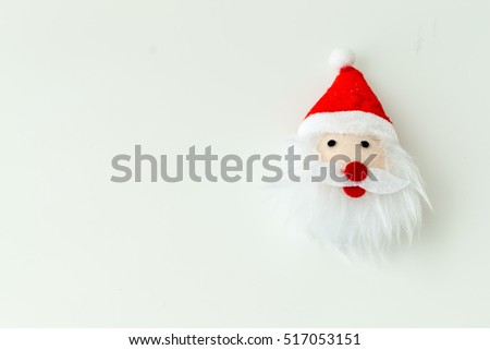 Santa Claus doll isolated on white background with copy space