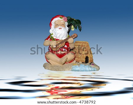 Santa claus dressed in traditional hawaiian costume - stock photo