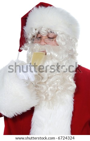 Santa Claus drinking a glass of champagne