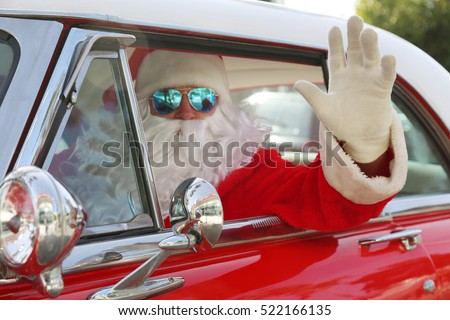 santa claus drives his hot rod car arrives in style cruises classic