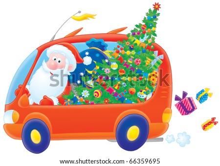 Santa Claus drives in his car - stock photo