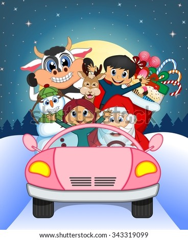 Santa Claus Driving a Pink Car Along With Reindeer, Snowman, Children, and Full Moon At Night Brings Many Gifts Illustration - stock photo