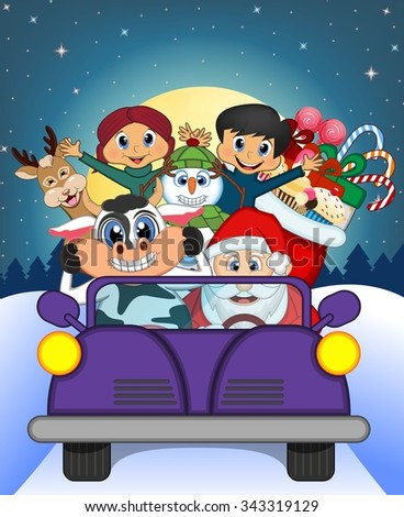 Santa Claus Driving a Purple Car Along With Reindeer, Snowman, Children, and Full Moon At Night Brings Many Gifts Illustration - stock photo