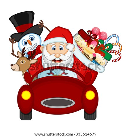 Santa Claus Driving a Red Car Along With Reindeer, Snowman And Brings Many Gifts