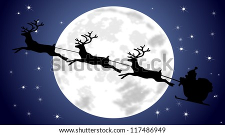 Santa Claus driving his sleigh - stock photo