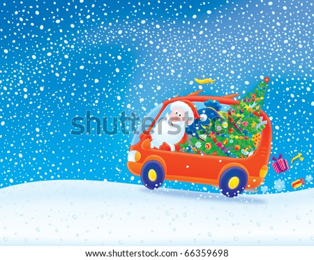 Santa Claus driving in his car in snowstorm - stock photo