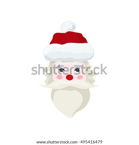 Santa Claus Face, Merry Christmas and Happy New Year , Santa Claus Isolated on White Background