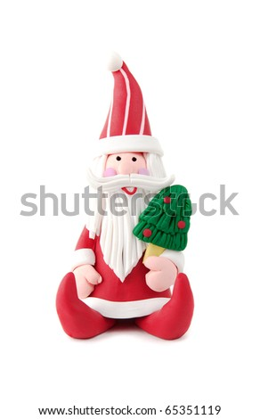 Santa Claus figurine white isolated