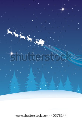 Santa Claus flying across a snowy landscape with his reindeer leaving a trail behind. Set against a snowy blue sky backdrop with siluetted trees.