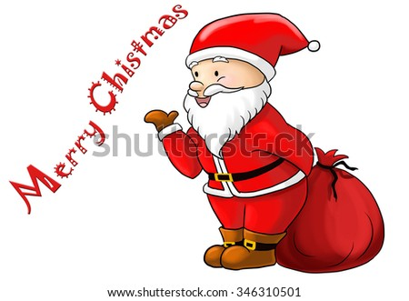Santa Claus for Merry Chistmas isolated on white background