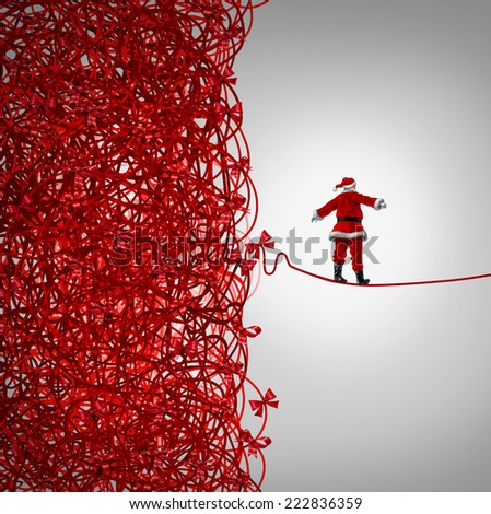 Santa Claus freedom and holiday management gift giving crisis as a concept with santaclause as a tightrope walker walking out of a confused tangled chaos of red ribbons escaping Christmas stress. - stock photo