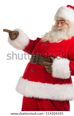 Santa Claus gesturing his hand isolated over white background. Presenting something - stock photo
