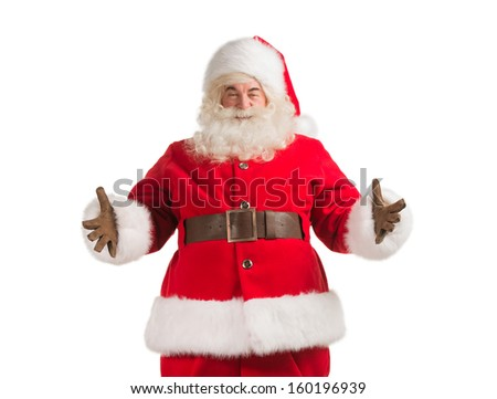 Santa Claus gesturing his hand isolated over white background. Welcoming you - stock photo