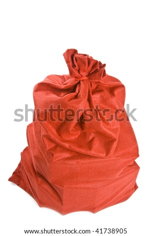 Santa Claus Gift Bag Isolated on White - stock photo