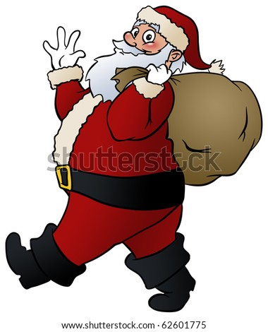 Santa Claus give a smile and a wave. - stock photo